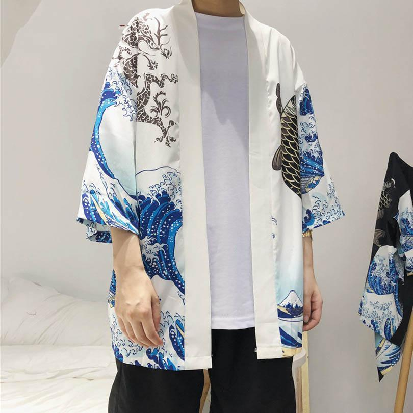 Men Wave and Carp Print Long Kimono Cardigan