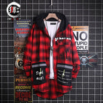 Men Vintage graffiti printed classic plaid shirt