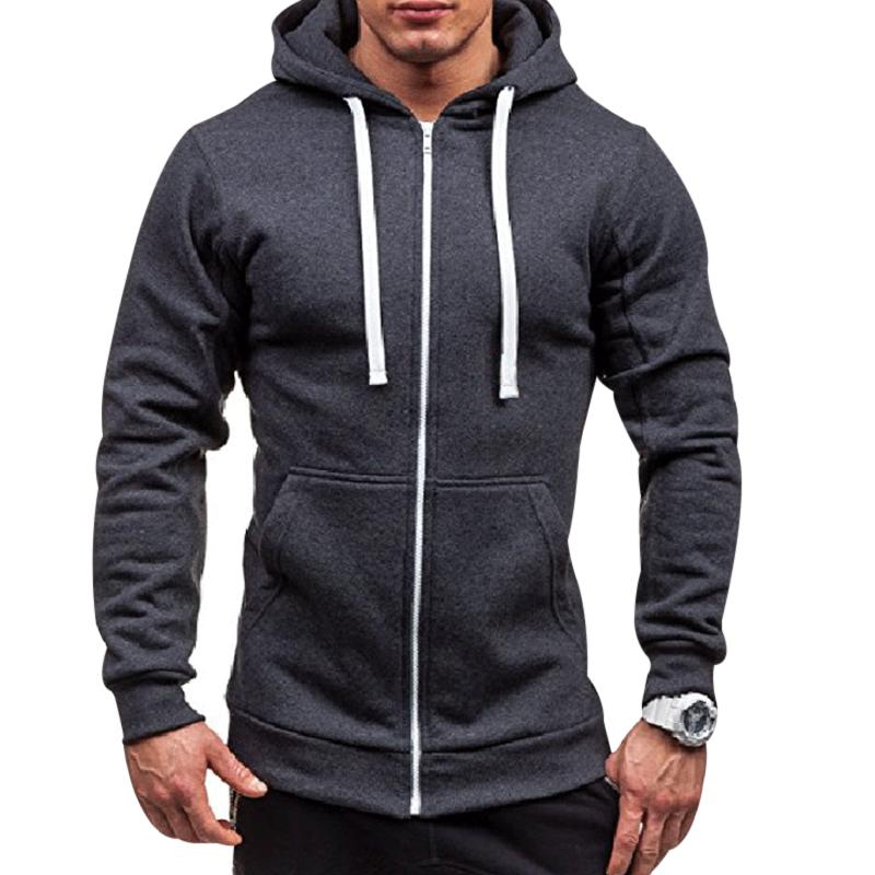 Drawstring Zipper Hooded Sweatshirt - thistylish