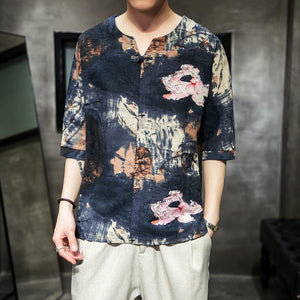 Men Chinese Styles cotton short sleeve t-shirt