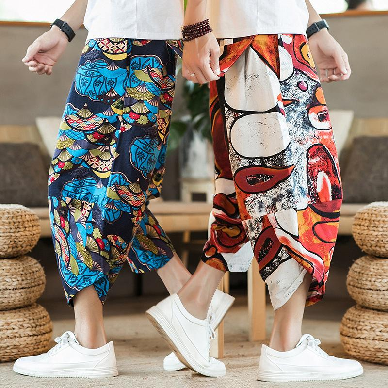 men shorts cotton linen pants - thistylish