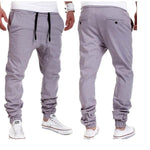 Casual Joggers Pants Solid Color Men Cotton Elastic Long Trousers