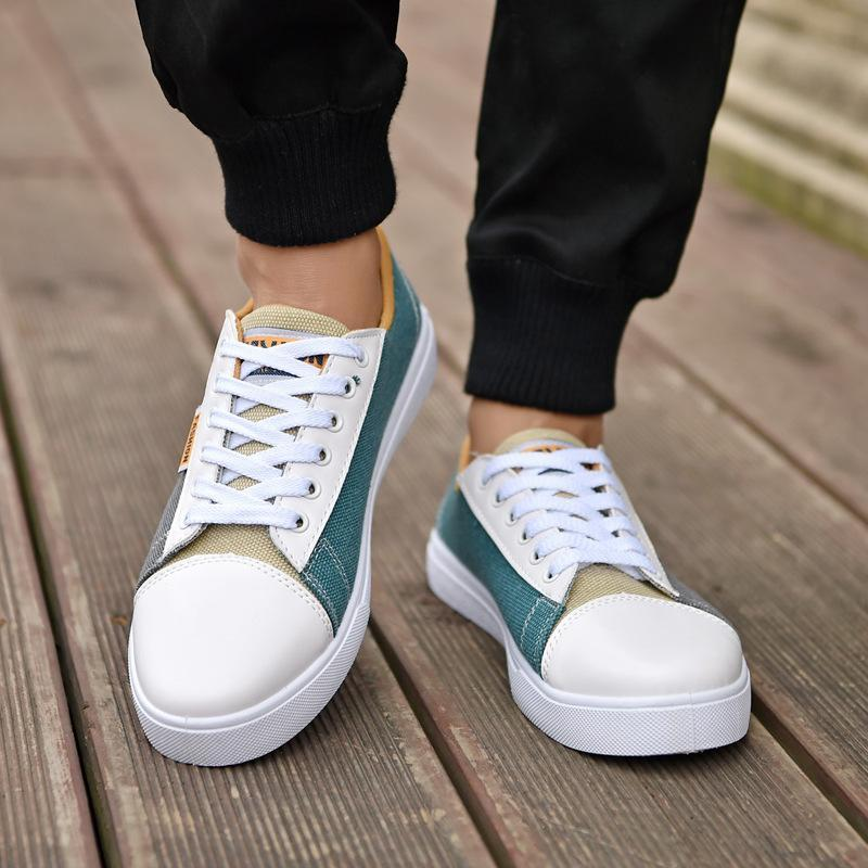 Men personality hit color canvas shoes