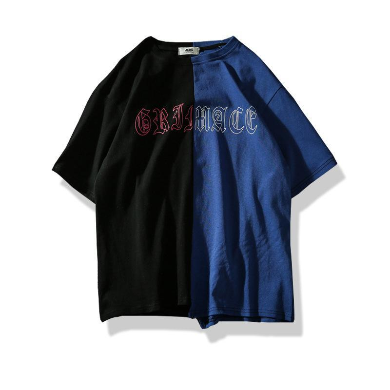 Men Flower Printed T Shirts Hit Color Patchwork T-shirt