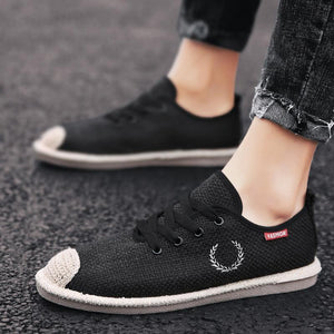 2019 linen shoes men's spring and summer breathable lazy canvas shoes - freakichic