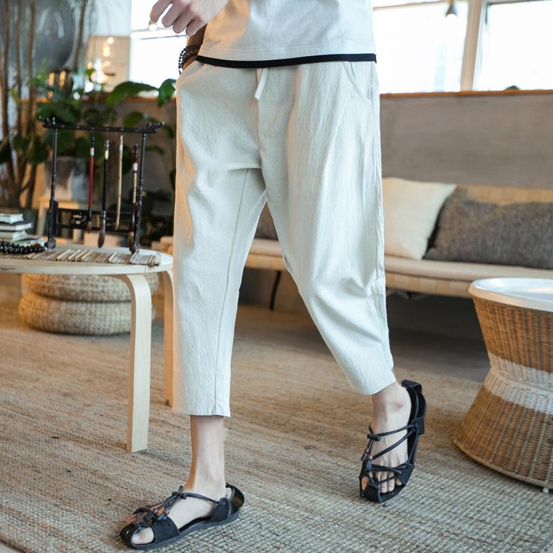 Men's linen loose large size casual Japanese thin section cropped trousers casual pants