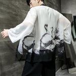 Chinese style male loose ink painting sun protection cardigan
