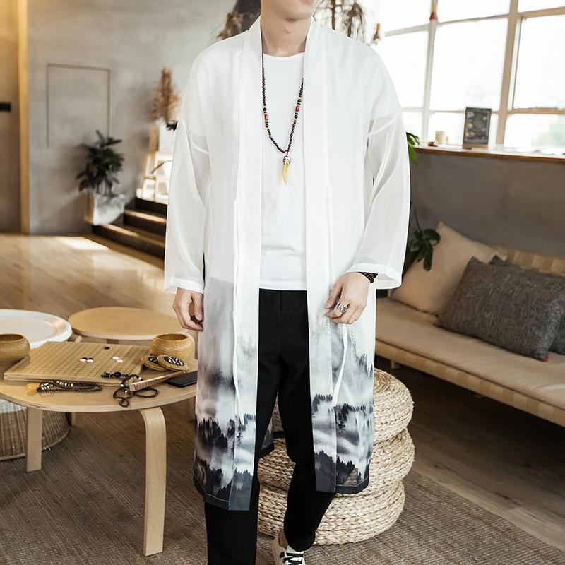 Chinese Style White Men's Long Cardigan