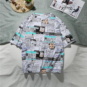 Men's Newspaper cartoon Printed short sleeve T-shirts