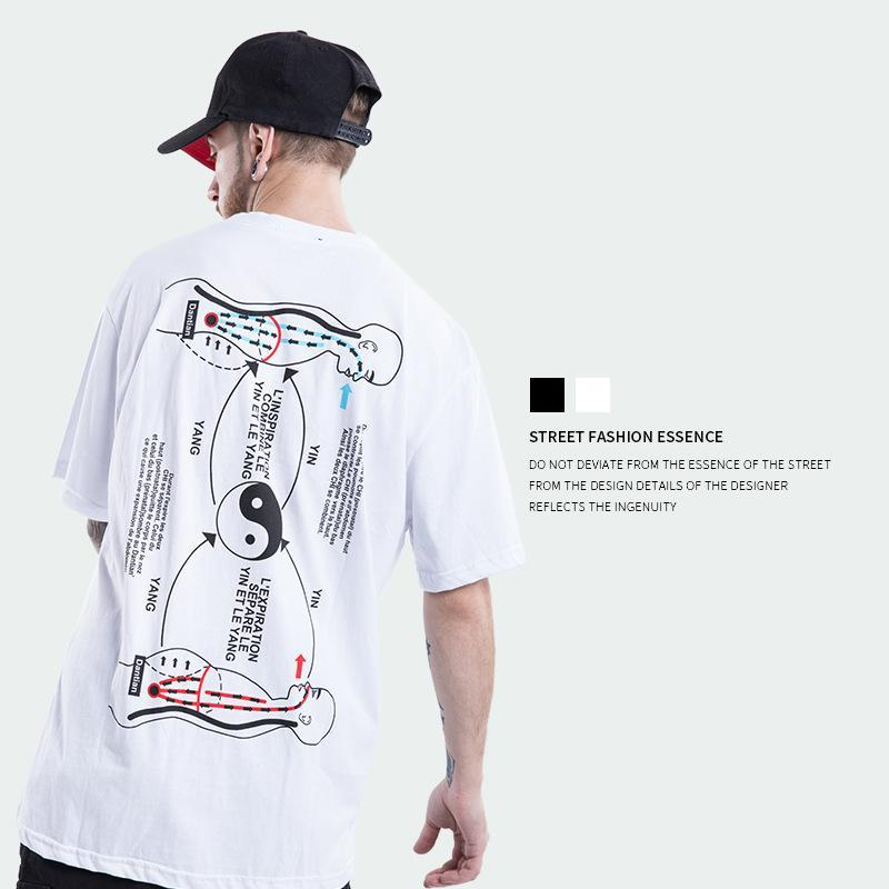 Men Tai Chi Gossip Printed T shirts