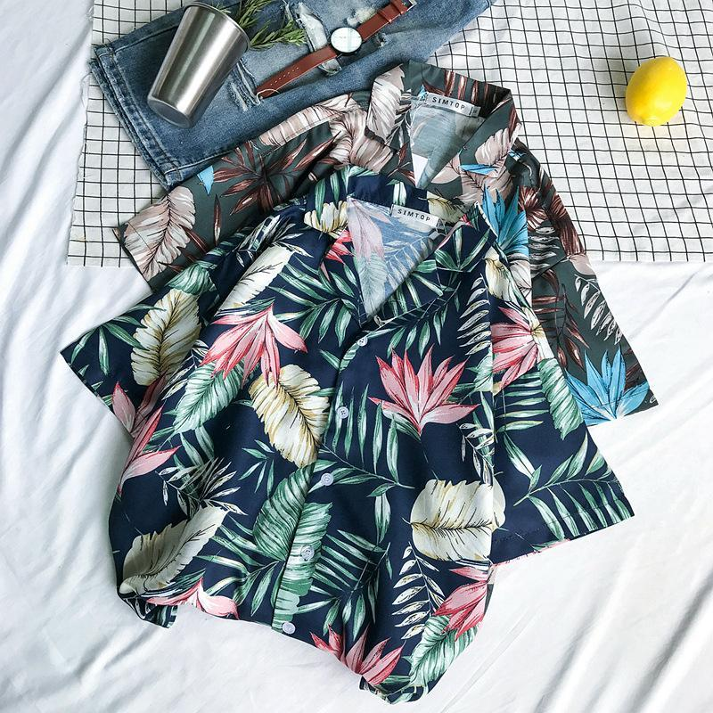 Hot Ulzzang Style Leaves Print Chic Shirt