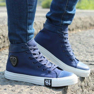 New Spring/Autumn Men Casual Shoes Breathable Black High Top Lace Up Canvas Shoes