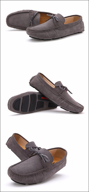 Get-in Men Suede Leather Loafers Driving Shoes Moccasins Summer Mens Casual Shoes Flat Breathable Flats,Fabric Grey,9.5,Spain