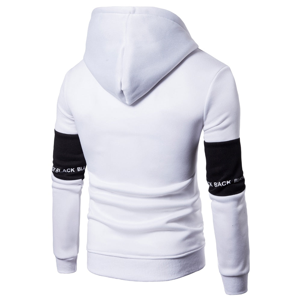 Casual Hoodies Men Fashion New Patchwork Hooded Sweatshirt