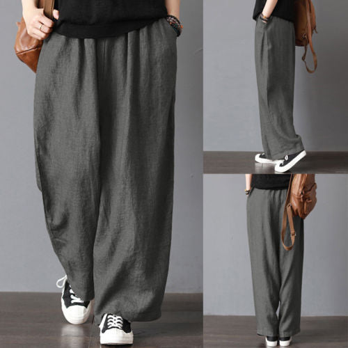 Men Casual Loose Wide Leg Pants Cotton Linen