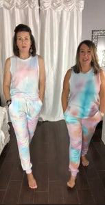 Multicolor tie dye lounge jogger pants