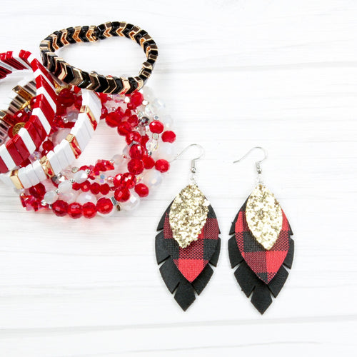 Leather Earrings - 3 layer Buffalo Plaid Feather with gold