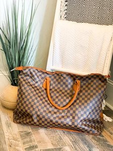 Brown Checkered Large Tote