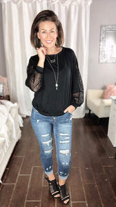 Black Sheer Sleeve Top