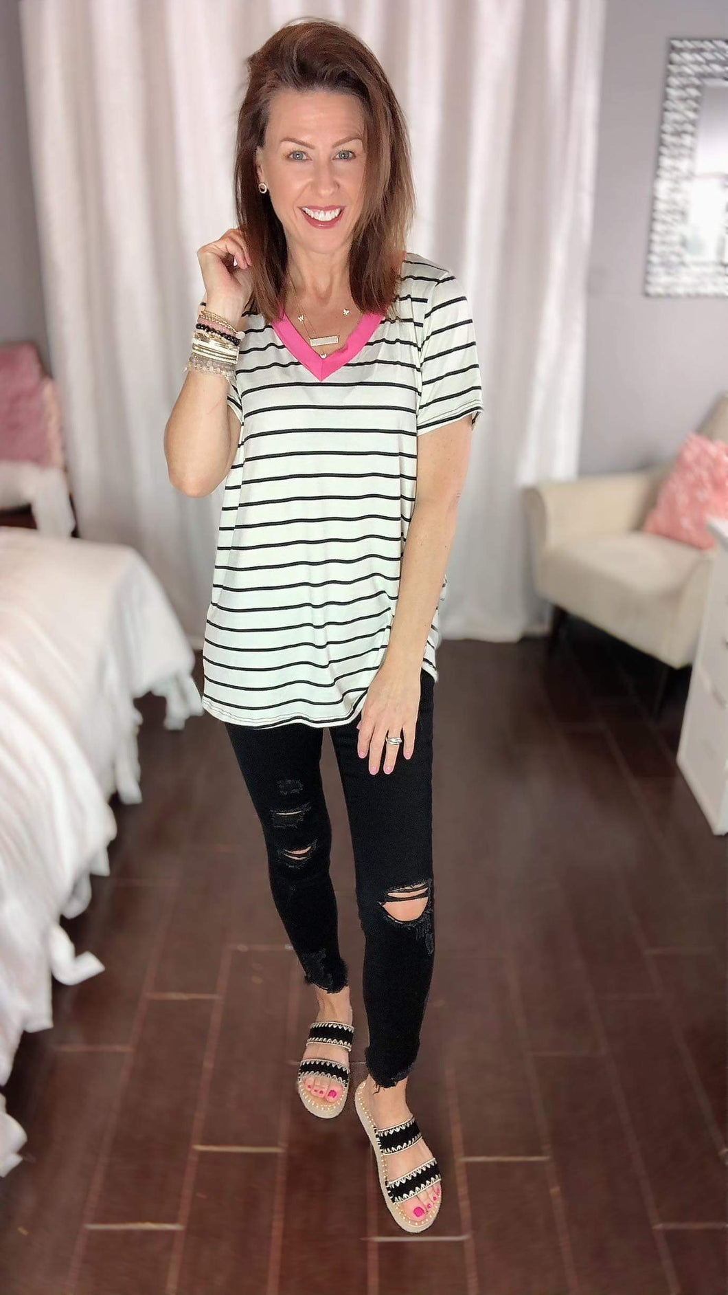 White & Navy Striped Top