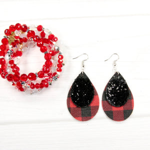 Leather Earrings - 2 layer Buffalo Plaid with Black Sparkle