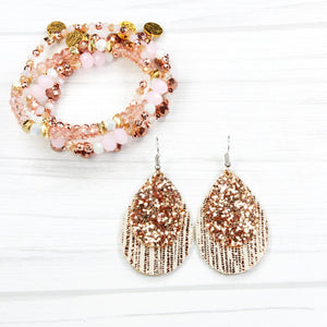 Leather Earrings - 2 layer Rose Gold Rain