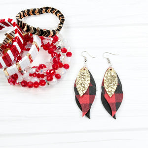 Leather earrings - 3 layer Buffalo Plaid Teardrop with Gold
