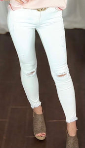 Distressed White Jeans