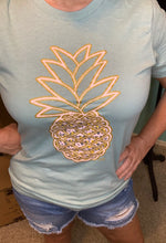 Load image into Gallery viewer, Pink leopard glitter pineapple tee