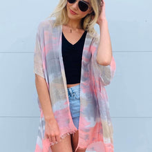 Load image into Gallery viewer, Watercolor tie dye kimono #3