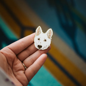 """Weston"" White Swiss Shepherd Puppy Pin"