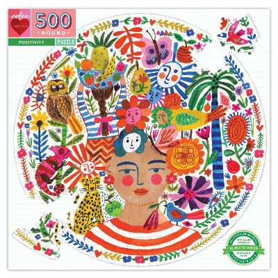 Puzzle - Eeboo Round Positivity Frida 500 pc