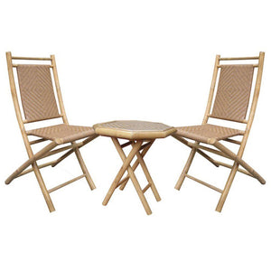 Dax Natural and Tan Bamboo Diamond Weave 2 Chairs and a Table Bistro Set 36""