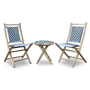 Dwayne Natural Bamboo Black and White Diamond Weave 2 Chairs and a Table Bistro Set 36""