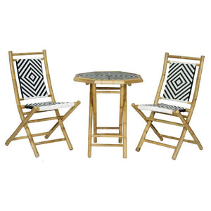 Ayaan Brown Poly-Rattan and Bamboo set of 2 Chairs and a Table 36""