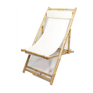 Branden 2 Natural and White Bamboo Folding Sling Chairs 30""