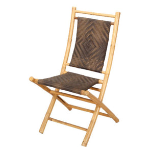 Adrien Natural and Brown Bamboo Folding Chair with a Diamond Weave 36""