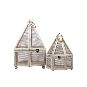 Augustus Wooden & Wire Mesh Hexagon Terrarium Set Of Two W/ Jute Rope
