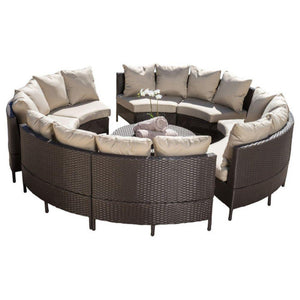 GDF Studio 10-Piece Venice Outdoor Wicker Sofa Sectional Set