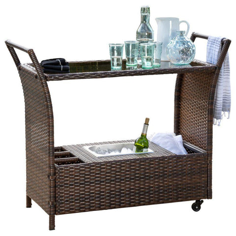 GDF Studio Benett Multi-Brown Wicker Serving Bar Cart