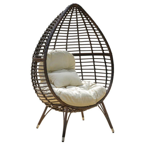 GDF Studio Dermot Multibrown Wicker Lounge Teardrop Chair With Cushion