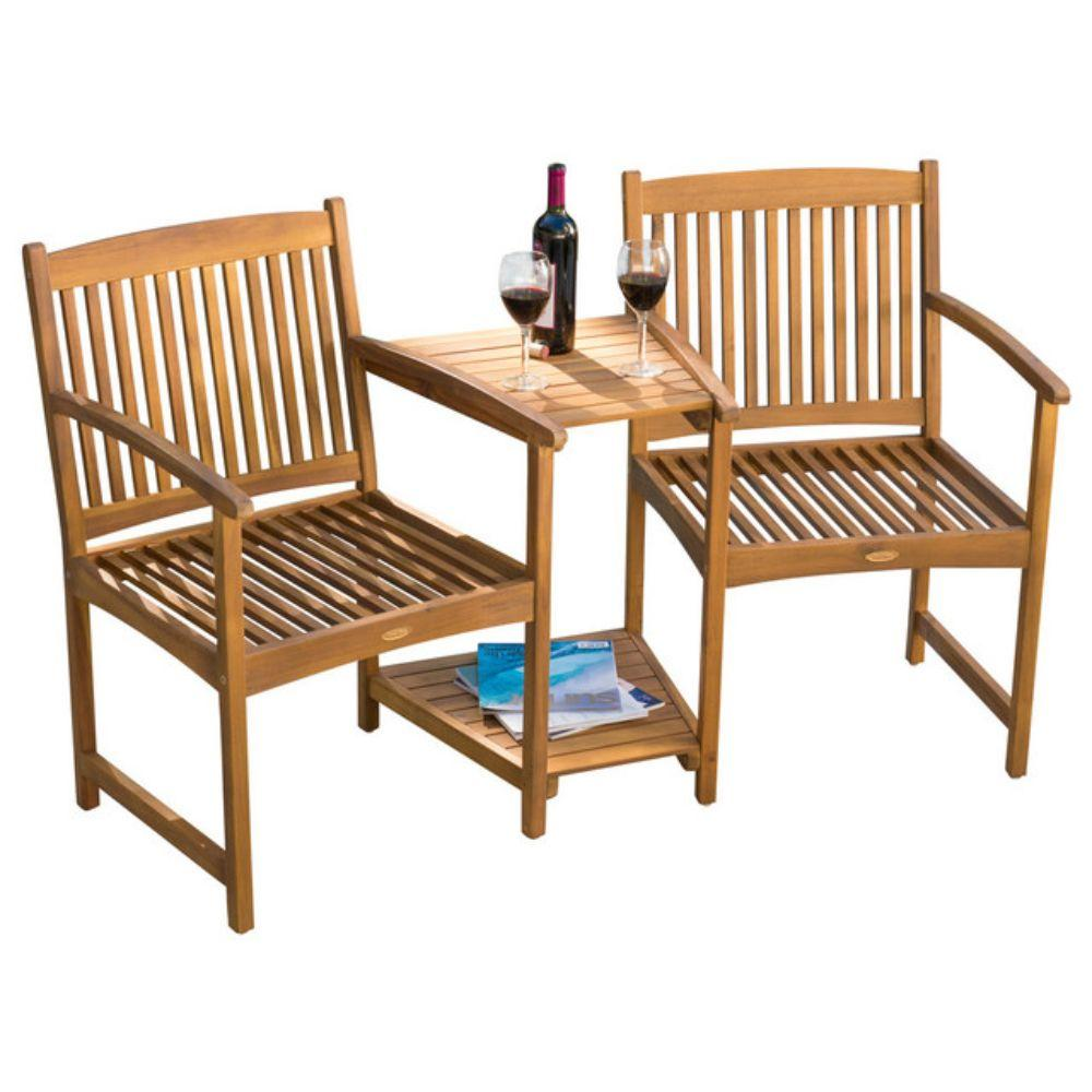 GDF Studio Virginia Outdoor Wood Adjoining Chairs