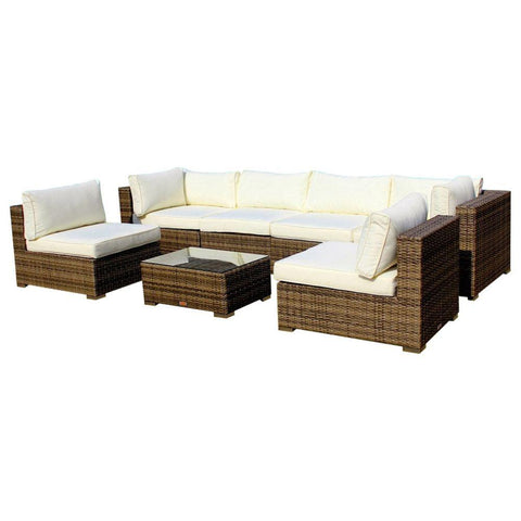Outdoor Patio Furniture Sofa All-Weather Wicker Sectional 7-Piece Couch Set
