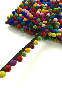 1 Line Small Multicoloured Black Pompom Trim