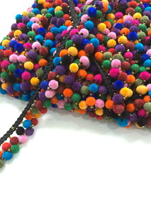 2 Line Small Multicoloured Black Pompom Trim