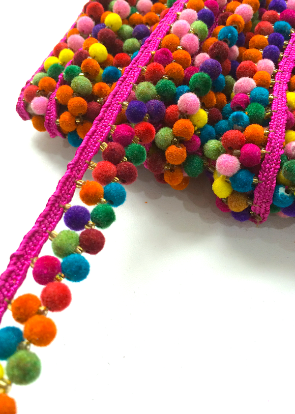 2 Line Multicoloured Pink Pompom Trim