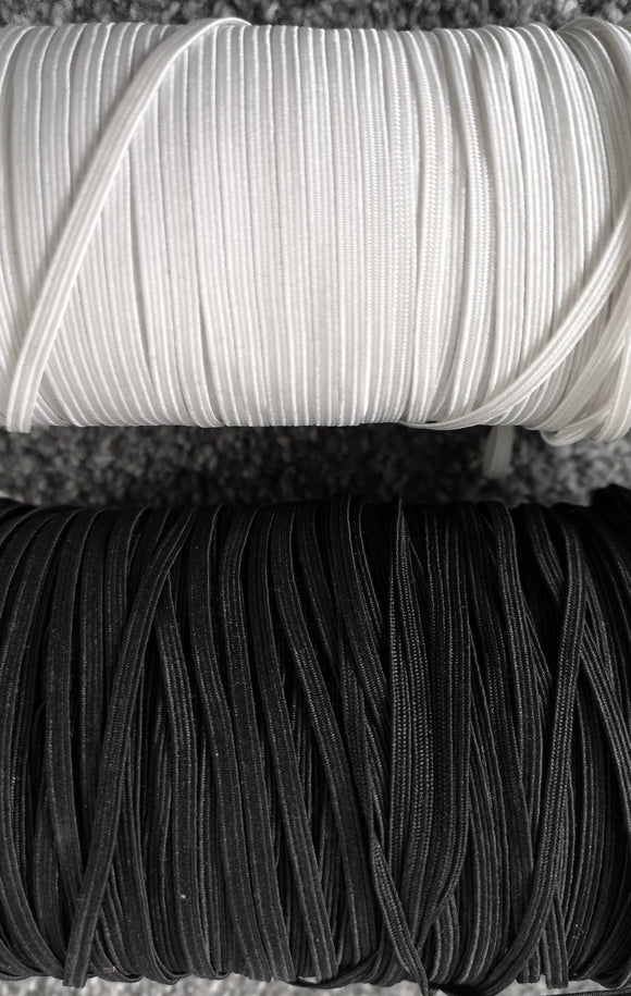 2 METRES OR 5 METRES FLAT MASK ELASTIC BLACK & WHITE 3mm 4mm 5mm 6mm 8mm 9/10mm 12mm