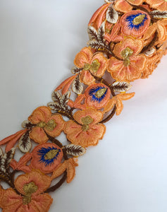 7901 Wide Peach & Blue Pansy Flower Cutwork Trim