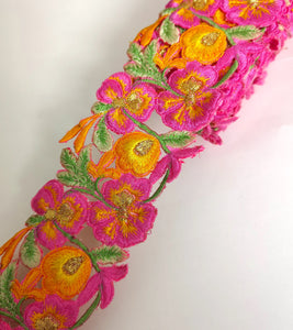 7901 Wide Pink, Orange & Yellow Pansy Flower Cutwork Trim