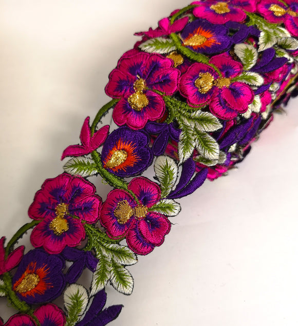 7901 Wide Pink, Purple & Orange Pansy Flower Cutwork Trim